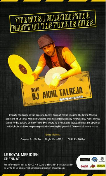 DJ Akhil Talreja at Le Royal Meridien Chennai on New Year's Eve 2012